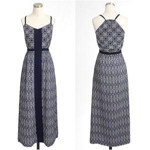 J. Crew Navy & White Printed Maxi Dress